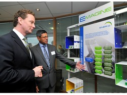 Greg Barker, Climate Change Minister (left) is introduced to ENER-G's E-MAGINE technology by Dr. Cedric Rodrigues of ENER-G