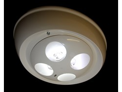 LED-powered recessed open area emergency luminaire by P4 displays; one of a number of emergency lighting manufacturers associated with ICEL that comply with FSO requirements