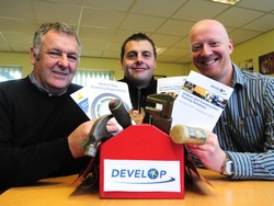 Left to right - Jim Donnelly from Develop, attendee at the first Tool Box event David Bacon and Dean Spencer from Derby's Grapevine Marketing who spoke at Develop's first event