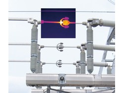 A bad connection on a transmission line shows up as a clear hot spot in an infrared image